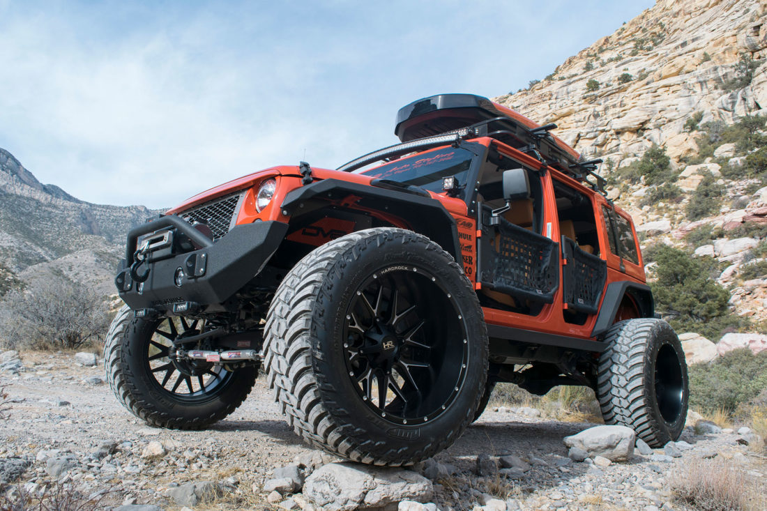 Hardrock 24x14 Affliction Wheels on an Orange Jeep Wrangler