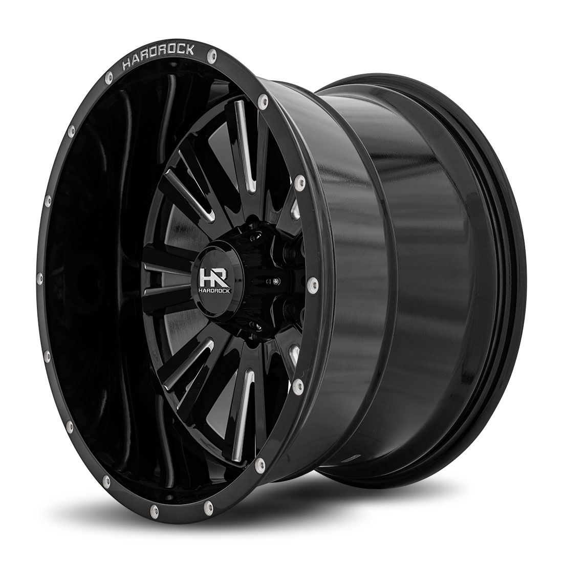 Hardrock Offroad Wheels H503 Spine-Xposed - Gloss Black Milled - 20x12