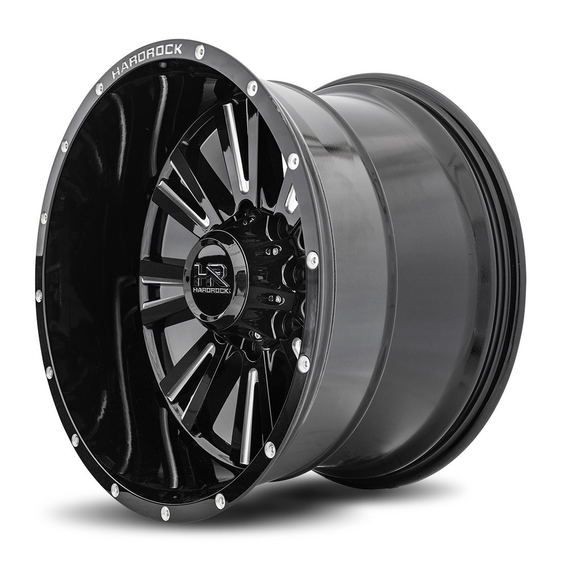 Hardrock Offroad Wheels H503 Spine-Xposed - Gloss Black Milled - 22x12