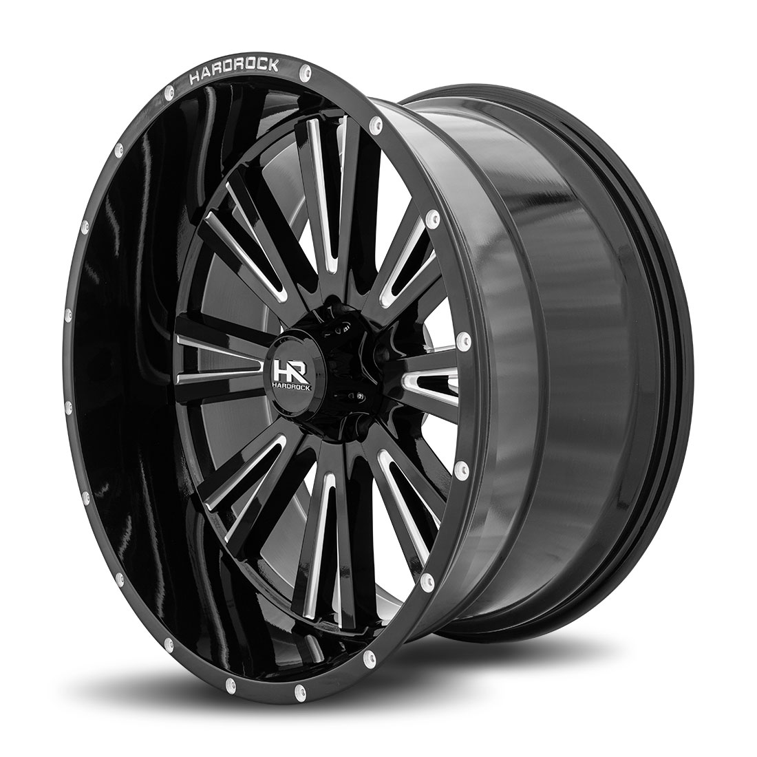 Hardrock Offroad Wheels H503 Spine-Xposed - Gloss Black Milled - 24x12