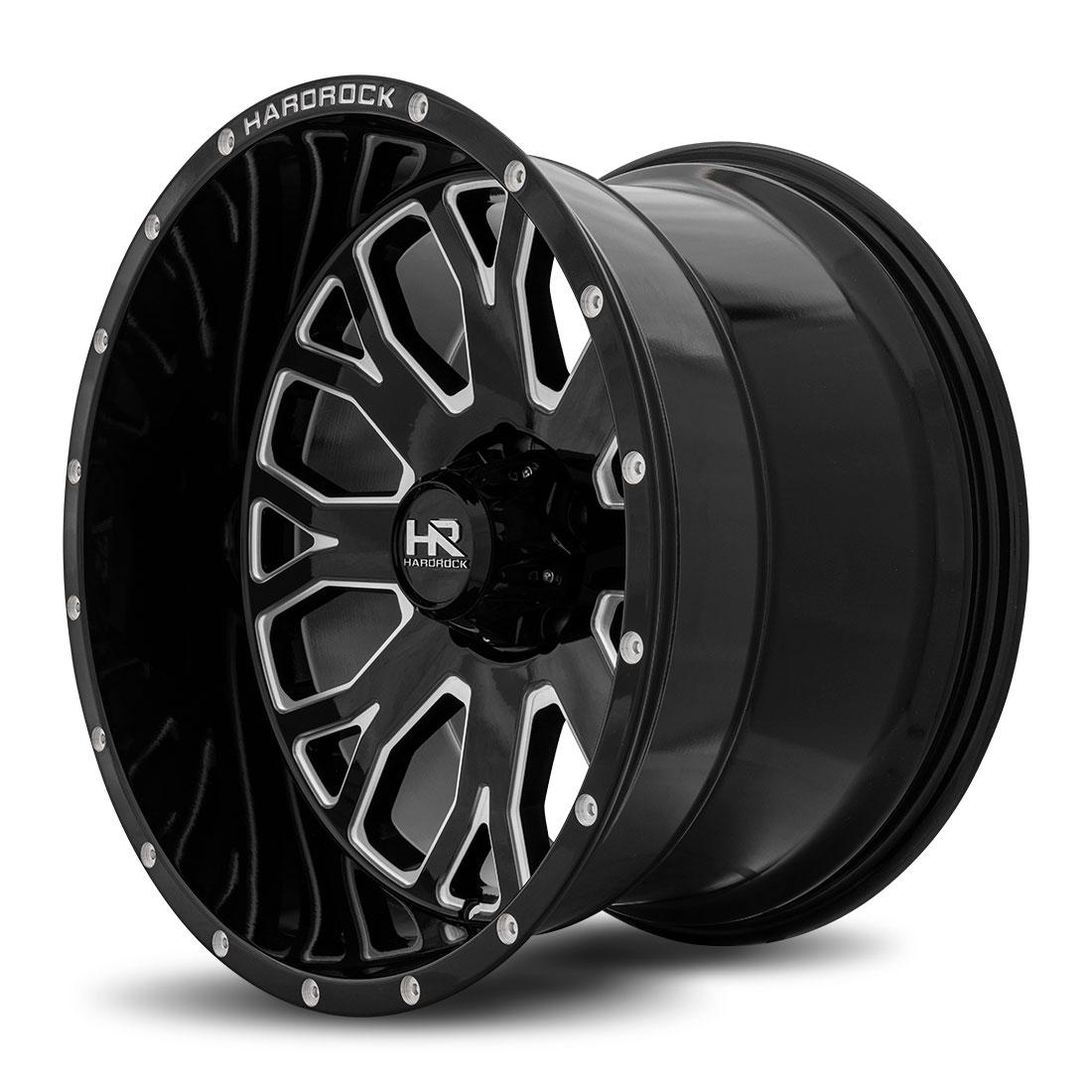 Hardrock Offroad Wheels H504 Slammer-Xposed - Gloss Black Milled - 20x12