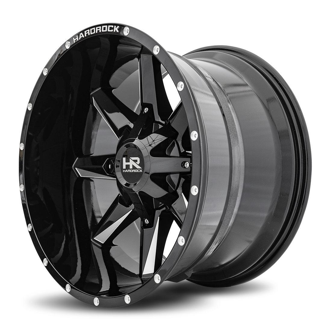 Hardrock Offroad Wheels H703 Hardcore - Gloss Black Milled - 20x12