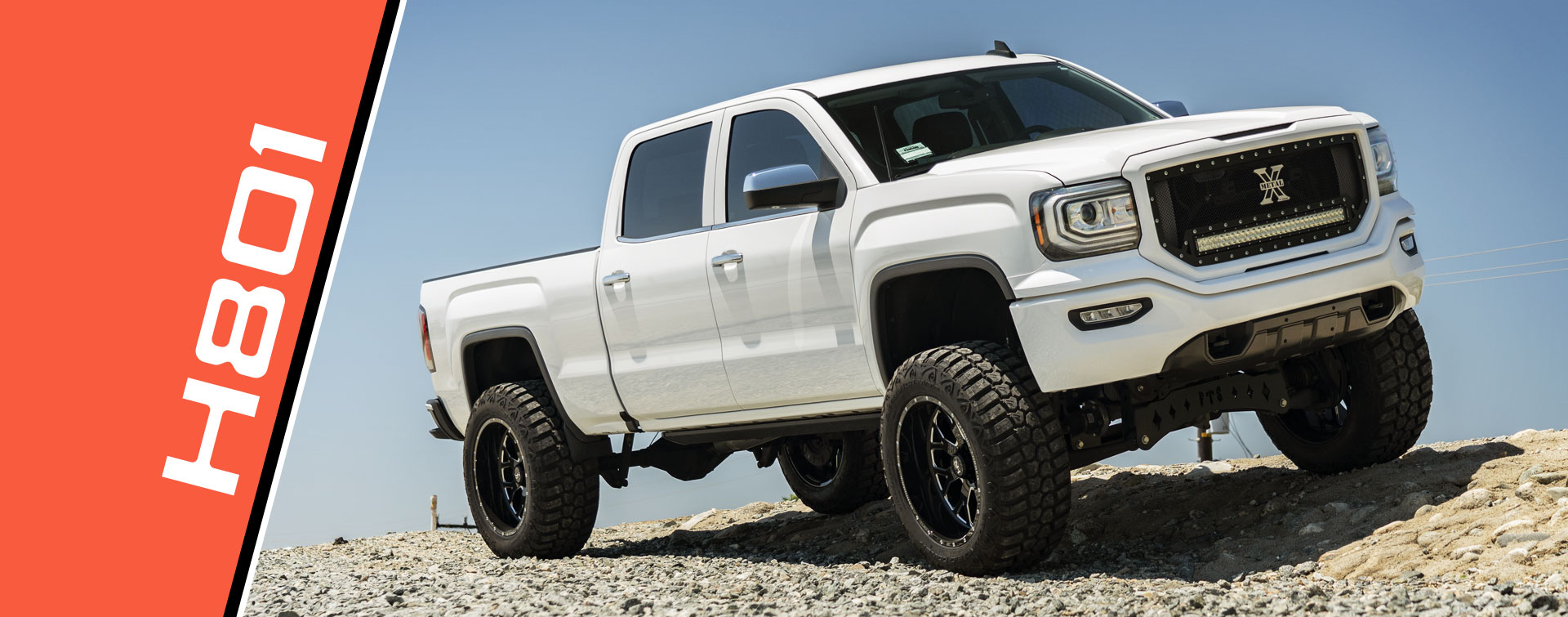 Hardrock H801 Wheels on a White GMC Sierra