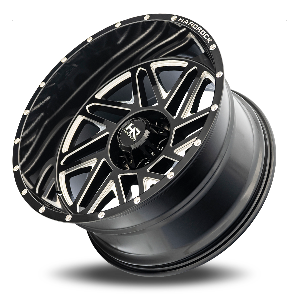 Hardrock H501 Bones Xposed Wheel in Gloss Black with Milling - 22x12