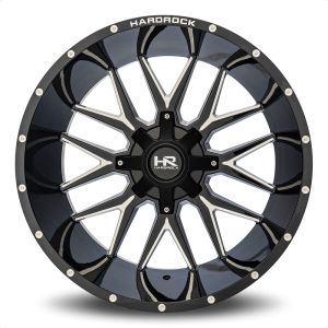 Hardrock H700 Affliction Wheel in Gloss Black with Milling - 24x14